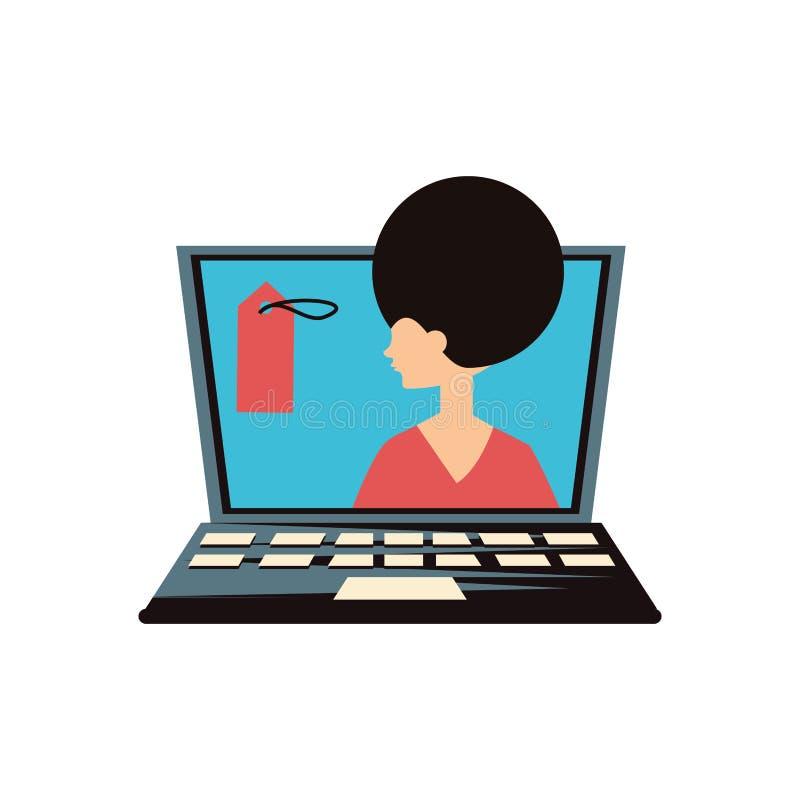 Женщина ретро в ноутбуке с коммерчески биркой иллюстрация вектора