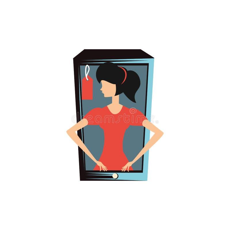 Женщина ретро в смартфоне с коммерчески биркой иллюстрация штока