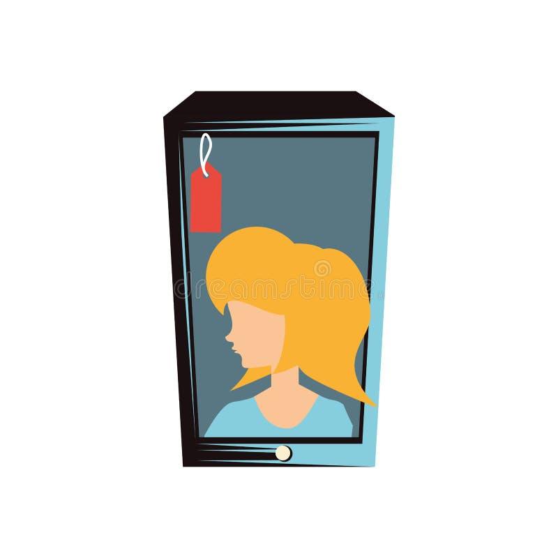 Женщина ретро в смартфоне с коммерчески биркой бесплатная иллюстрация