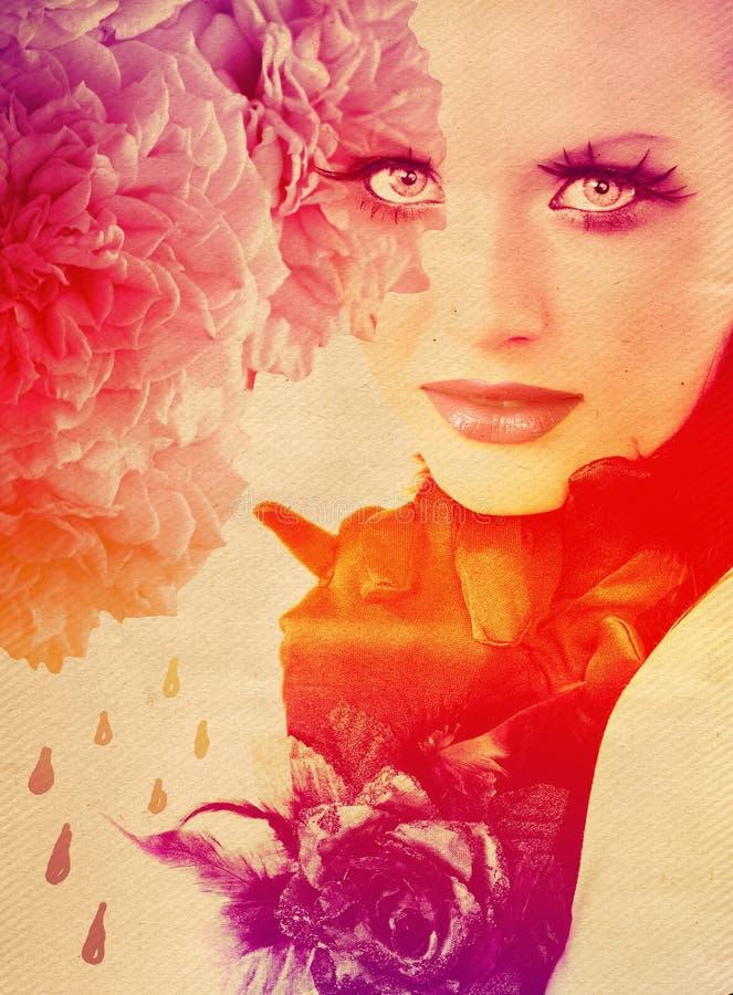 женщина роз радуги предпосылки стоковое фото rf