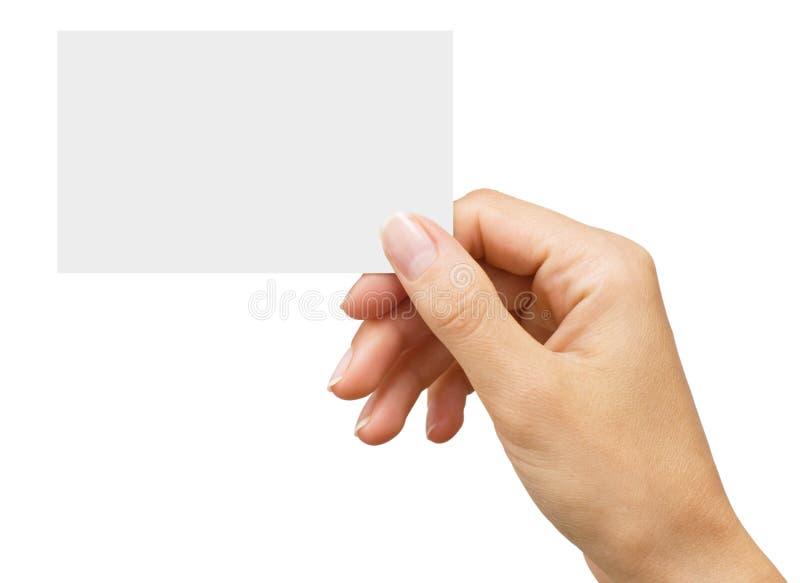 женщина руки s визитной карточки пустая стоковое фото
