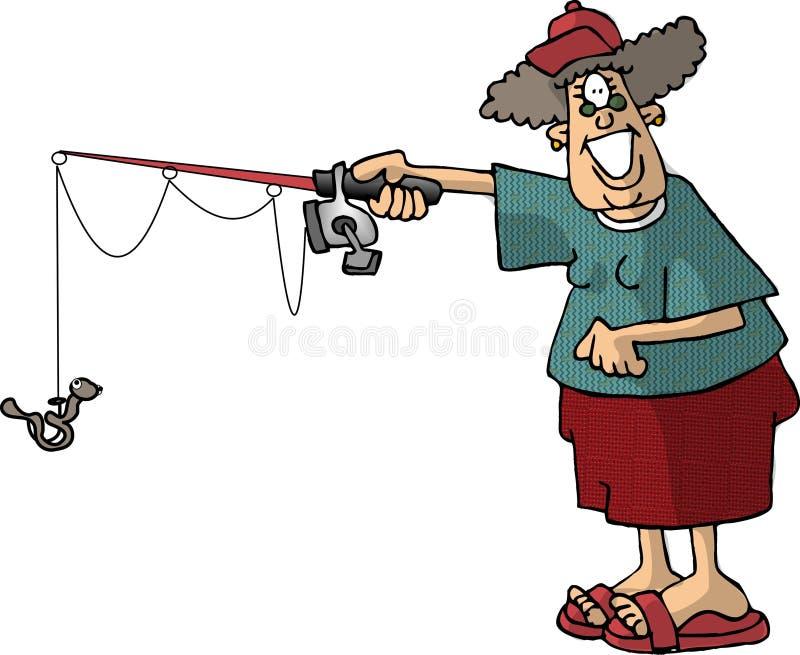 женщина рыболовства иллюстрация штока