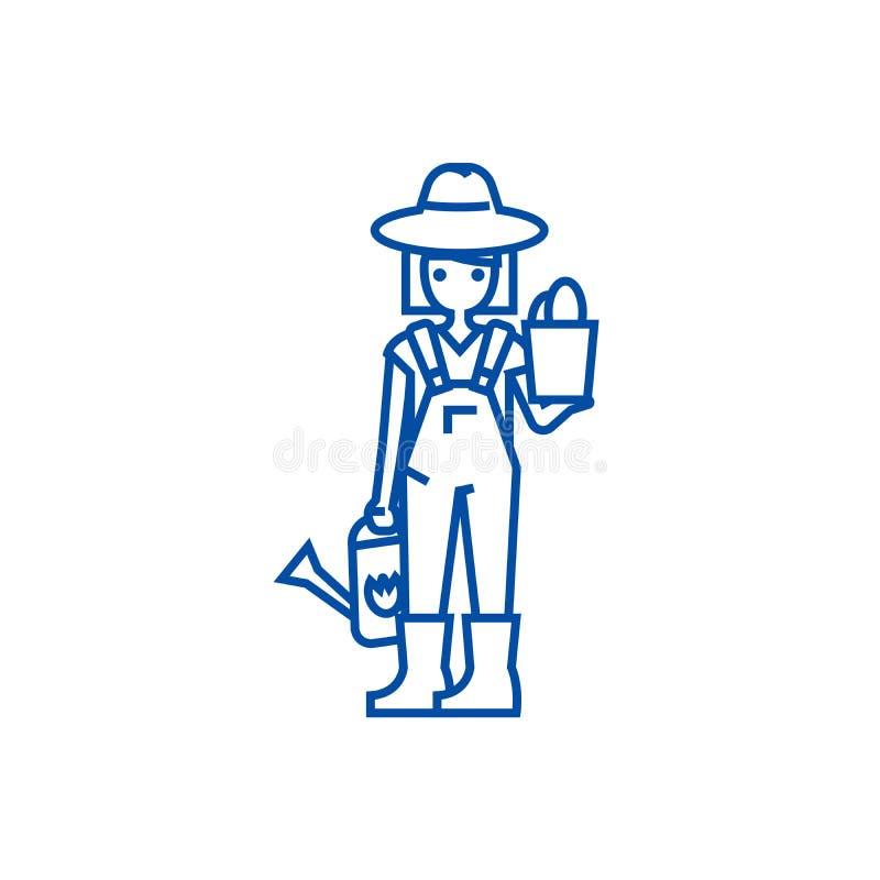 Женщина садовника с линией концепцией завода и моча консервной банки значка Женщина садовника с заводом и мочить могут плоско век бесплатная иллюстрация