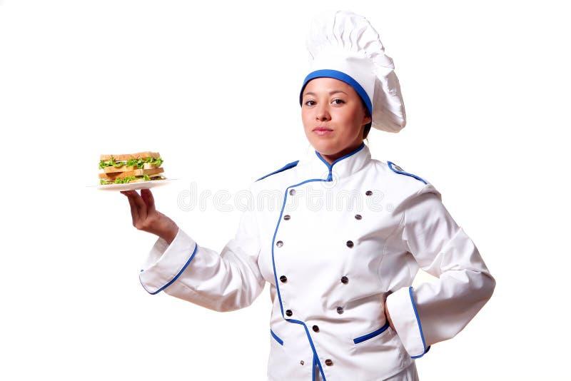женщина сандвича кашевара шеф-повара стоковая фотография rf