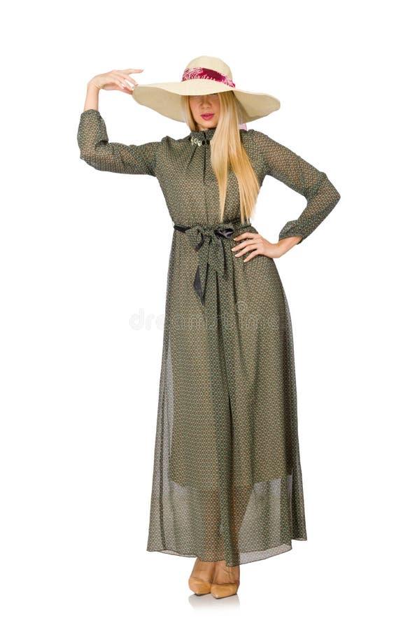 Женщина светлых волос в платье длинного зеленого цвета стоковая фотография rf