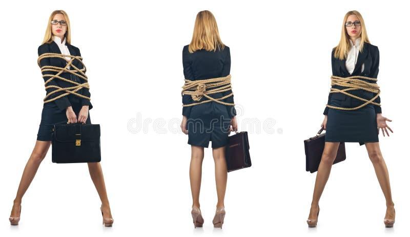 Женщина связанная вверх стоковые изображения rf