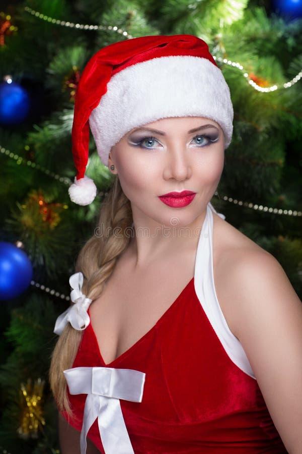 Женщина сексуальный santa стоковые фото