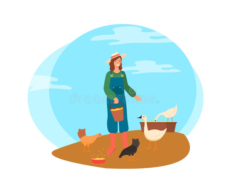 Женщина сельского хозяйства, дама Feeding Курица с вектором пшеницы иллюстрация вектора
