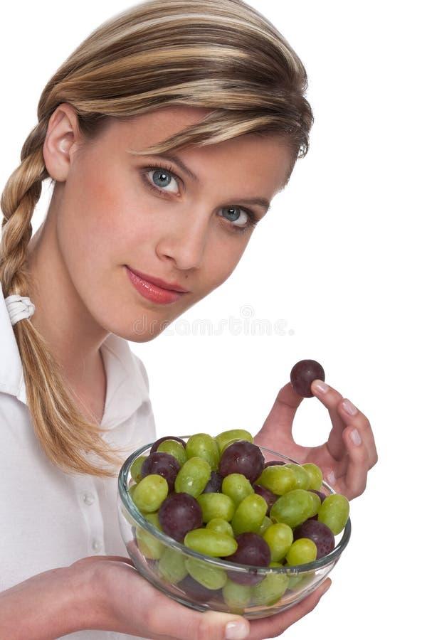 женщина серии уклада жизни виноградин здоровая стоковая фотография rf