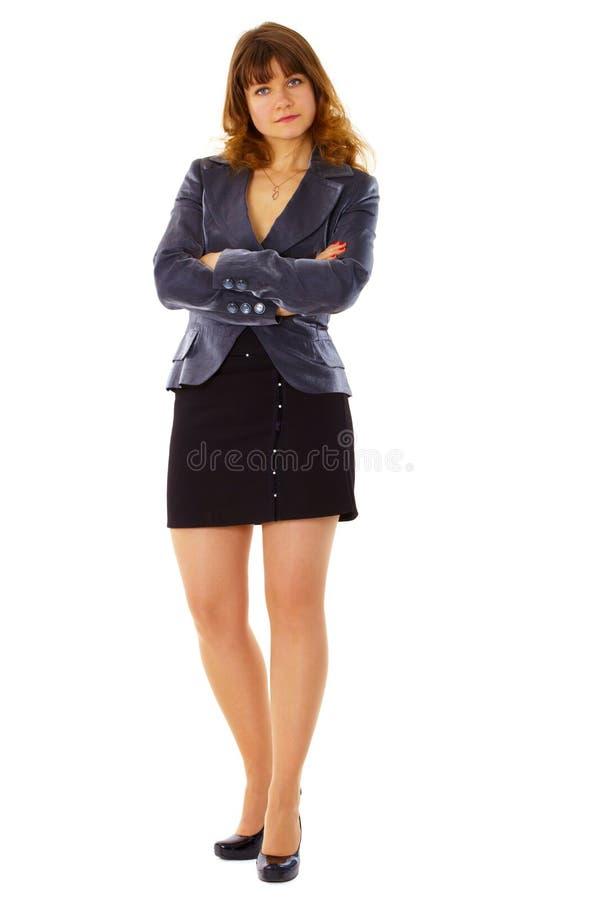 женщина серьезного костюма дела белая стоковое фото