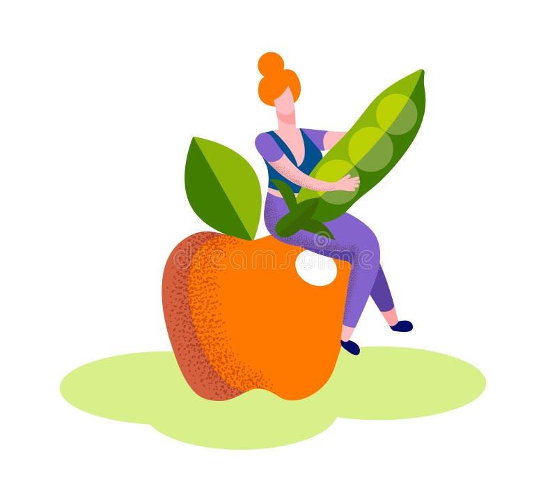 Женщина сидит на огромном зрелом стручке зеленого гороха владением Яблока бесплатная иллюстрация
