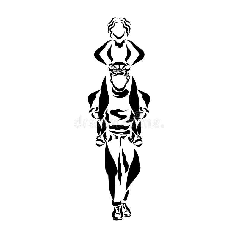 Женщина сидит на плечах ее супруга и контролирует его, руль иллюстрация штока