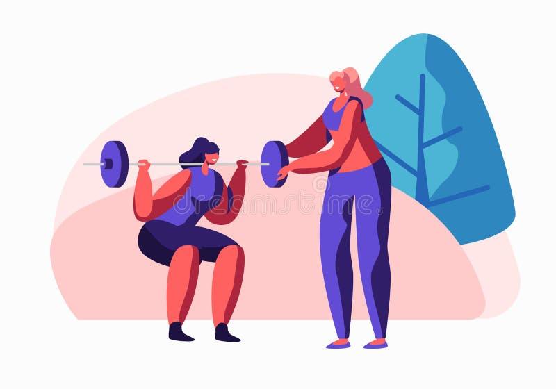 Женщина сидя на корточках с весом в спортзале, женском характере тренера помогая в тренировке Девушка в разминке Sportswear подго иллюстрация вектора