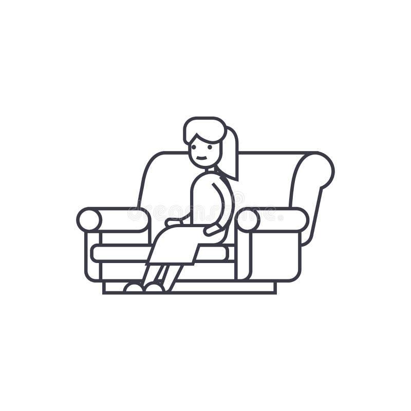 Женщина сидя на линии значке вектора софы, знаке, иллюстрации на предпосылке, editable ходах иллюстрация вектора