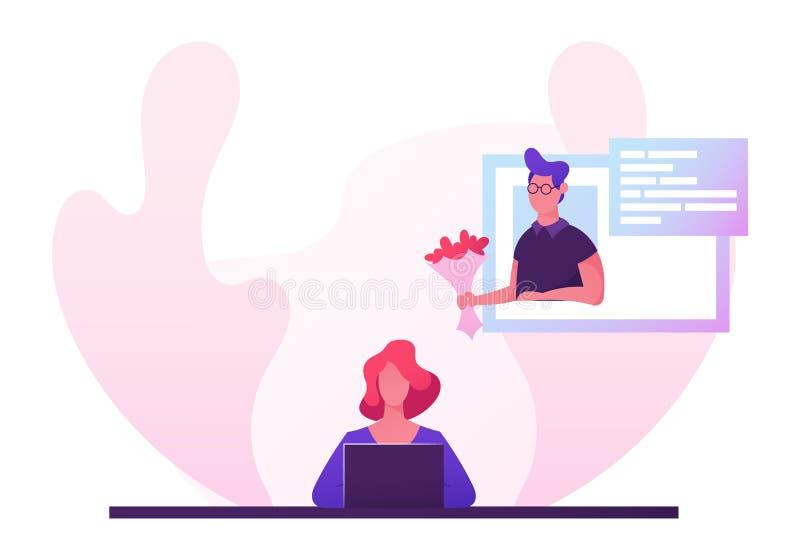 Женщина сидя на ноутбуке ища партнера любов на датировать вебсайт, отношения виртуальной реальности человеческие, беседовать деву иллюстрация вектора
