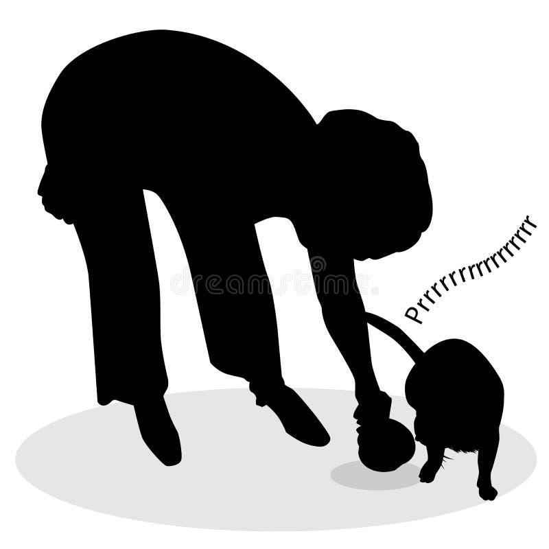 женщина силуэта кота подавая иллюстрация вектора