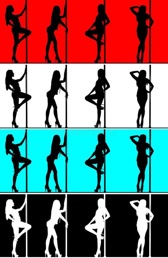 женщина силуэта полюса танцора стоковое фото rf