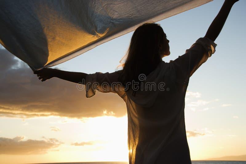 женщина силуэта стоковая фотография rf