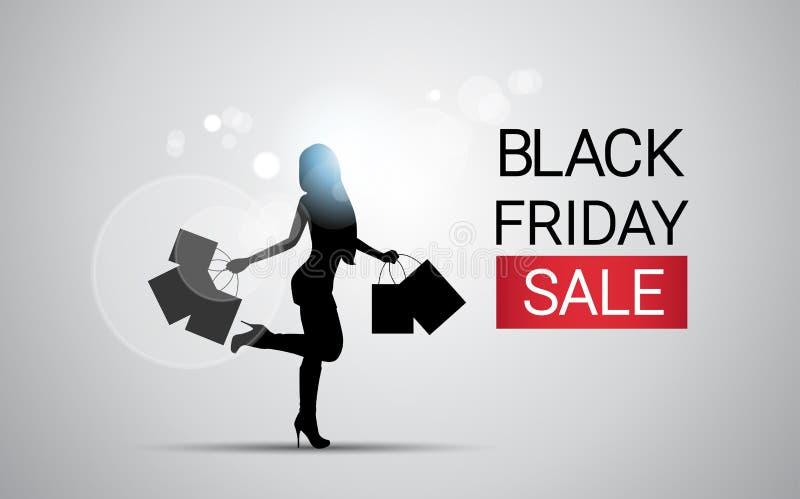Женщина силуэта с знаменем продажи пятницы черноты хозяйственной сумки большим иллюстрация вектора