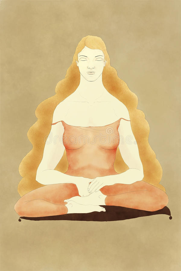 Женщина сидя на размышлять валика иллюстрация вектора