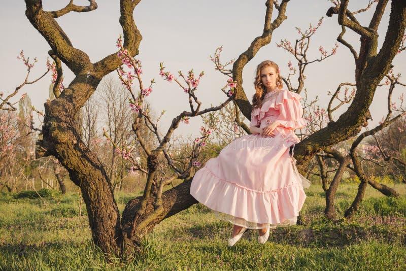 Женщина сказки на ветви дерева стоковые изображения rf