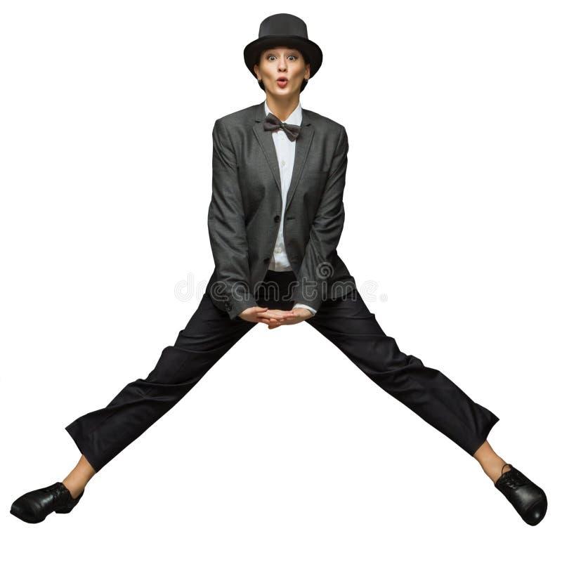 Женщина скача вверх стоковые фото