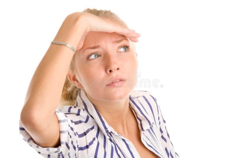 Женщина смотря вне стоковое изображение rf