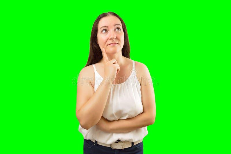 Женщина смотря заботлив стоковое изображение rf