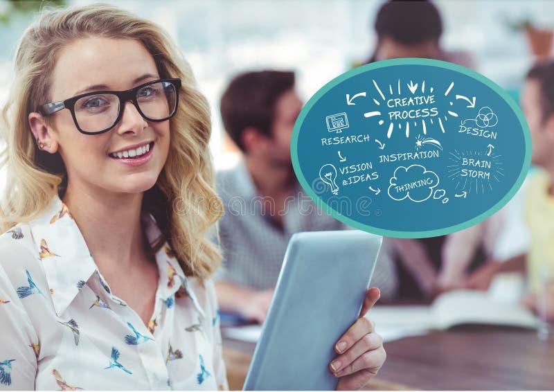 Женщина смотря на вне с творческим doodle в пузыре около ее стоковое изображение rf