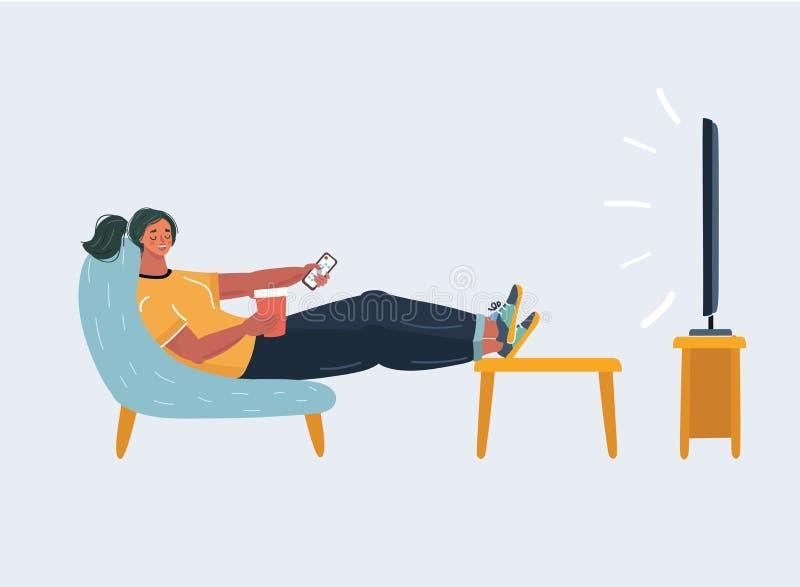 Женщина смотря ТВ бесплатная иллюстрация