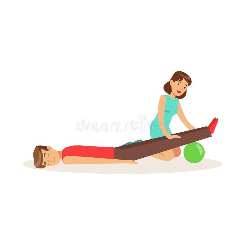 Женщина снабжать процедуру по скорой помощи лежа раненая иллюстрация вектора человека иллюстрация штока