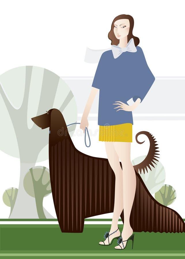 женщина собаки иллюстрация вектора
