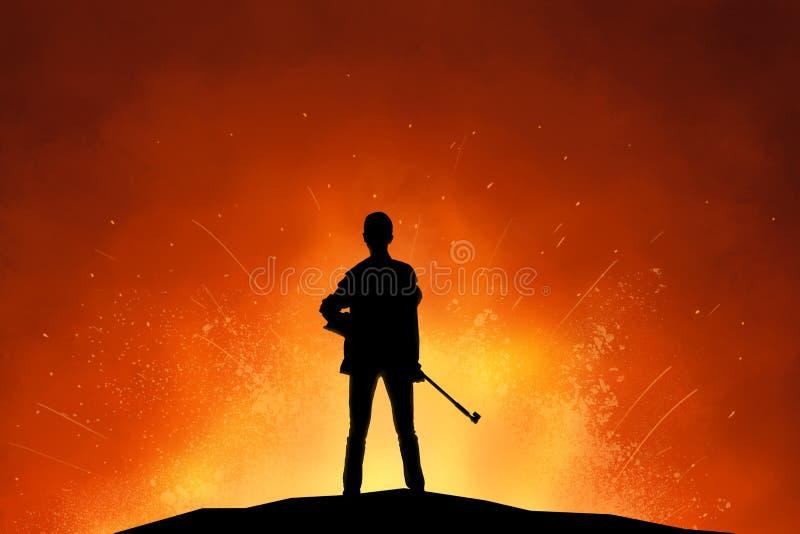 Женщина-солдат с силуэтом винтовки иллюстрация вектора