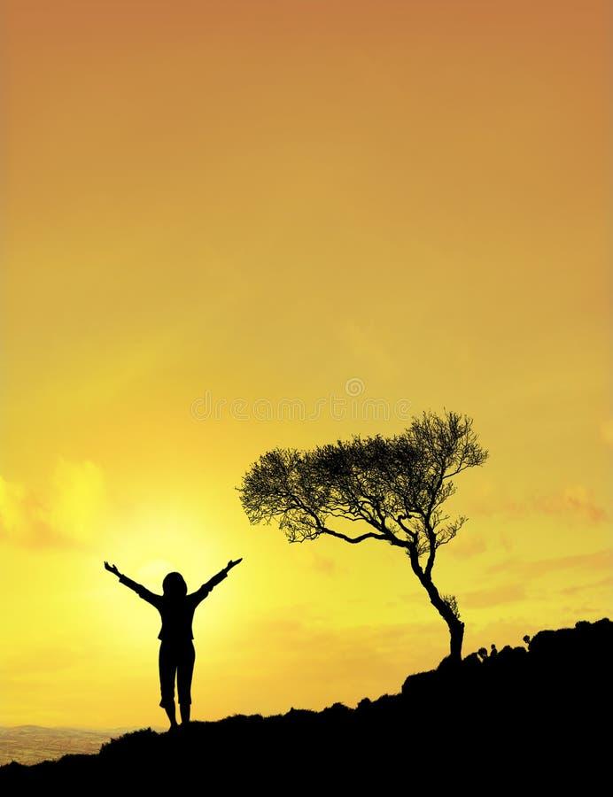 женщина солнца неба Стоковые Фотографии RF