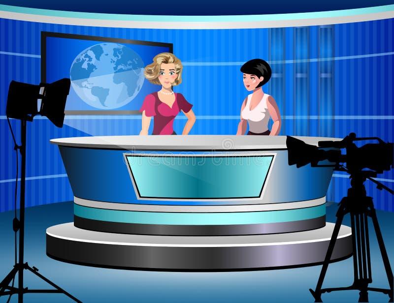 Женщина 2 сообщая новости ТВ сидя в студии иллюстрация штока