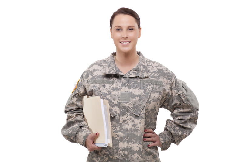 Женщина-солдат с документами стоковое фото rf