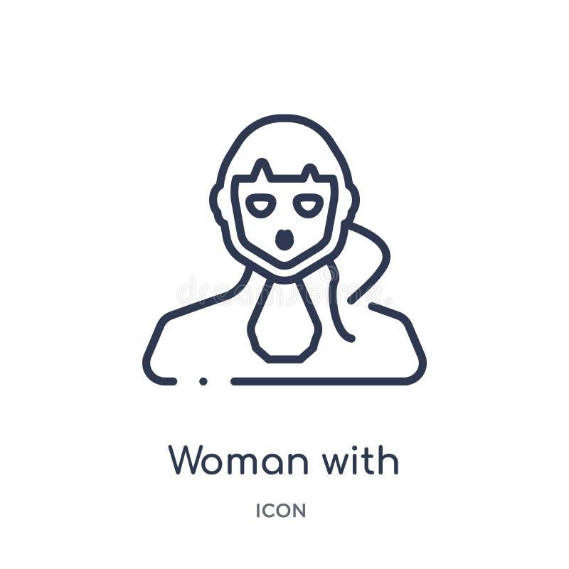 Женщина со значком стороны ponytail от собрания плана людей Тонкая линия ж иллюстрация вектора