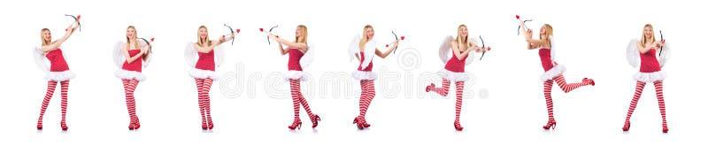 Женщина со смычком в концепции Валентайн стоковое фото rf