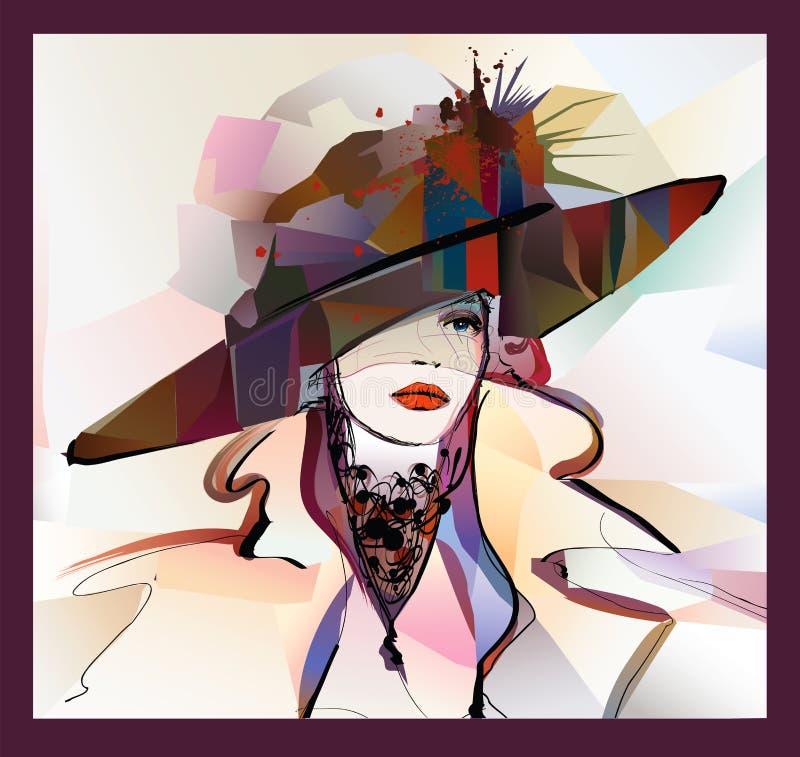 Женщина со шляпой на красочной предпосылке иллюстрация вектора
