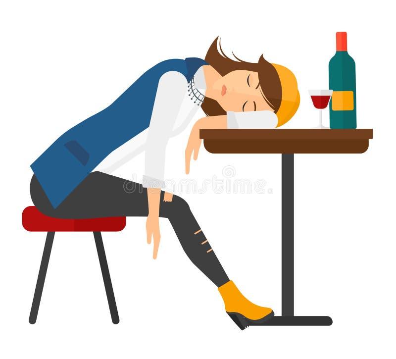Женщина спать в баре иллюстрация вектора