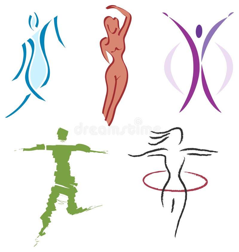 женщина спортов природы икон пригодности тела установленная бесплатная иллюстрация