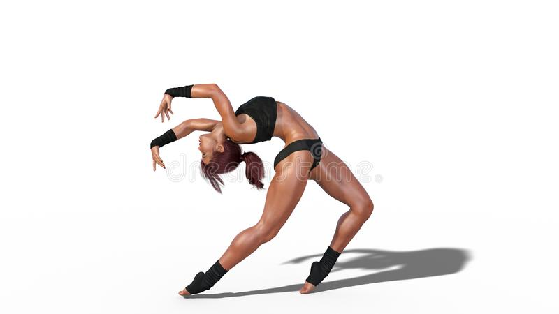 Женщина спортсмена танцев, подходящая девушка танцора при темные длинные волосы изолированные на белой предпосылке, 3D представля иллюстрация штока