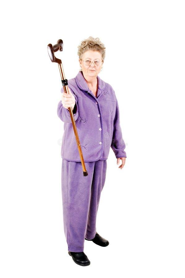 женщина старшия тросточки стоковая фотография