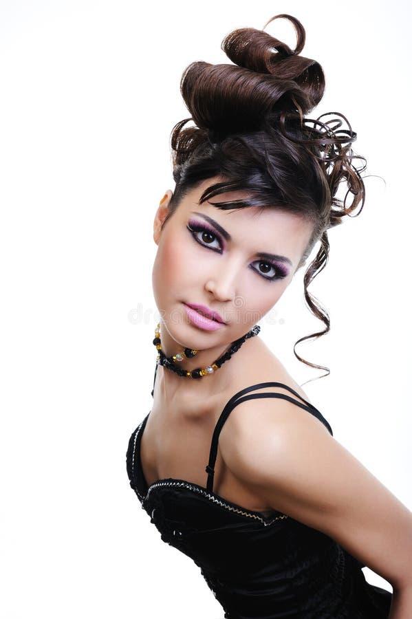 женщина стиля причёсок способа стоковое изображение rf