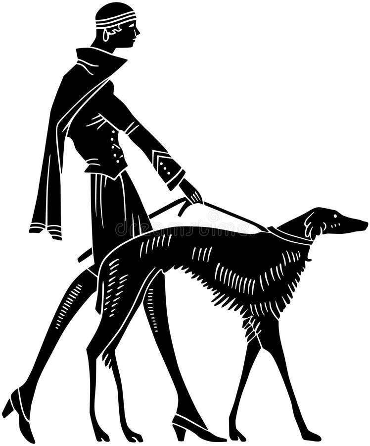 Женщина стиля Арт Деко с собакой иллюстрация вектора