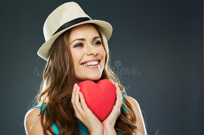 женщина стороны сь Красное сердце валентинка d стоковое фото