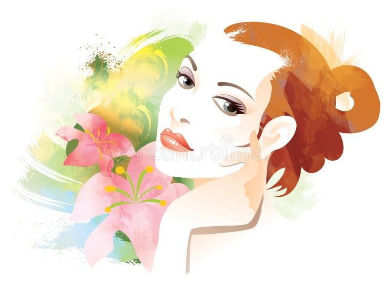 женщина стороны иллюстрация штока