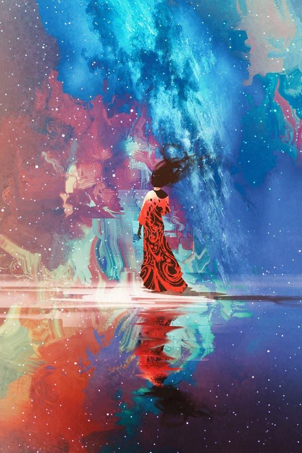 Женщина стоя на воде против заполненной вселенной иллюстрация вектора