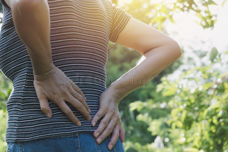 Женщина страдая от backache, повреждение позвоночника и мышца выдают стоковые фотографии rf
