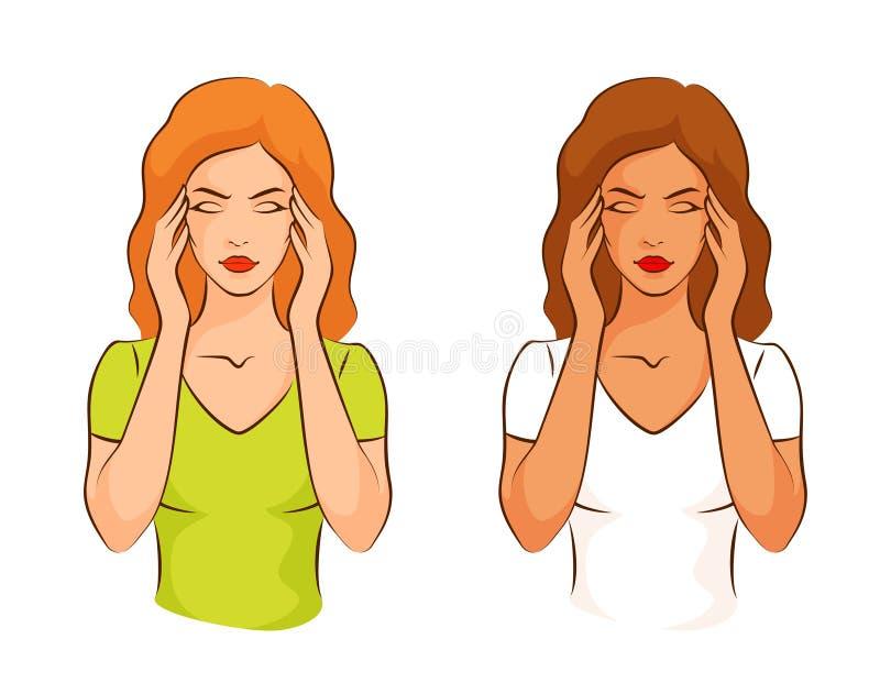 Женщина страдая от головной боли, касаясь ее вискам иллюстрация вектора